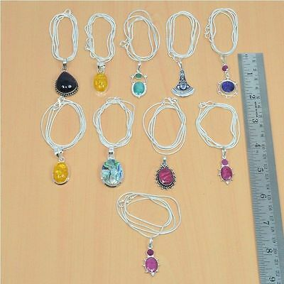 Wholesale 10Pc 925 Silver Plated Faceted Ruby & Mix Stone Pendant & Chain Lot