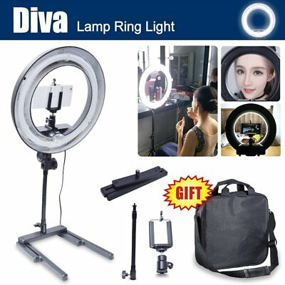 Dimmable Diva 400W 34cm Table Ring Light + Camera Phone Holder for Photo Video