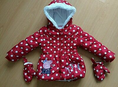 Toddler girls Peppa Pig warm red polka dot coat age 3-4 with mittens George Asda