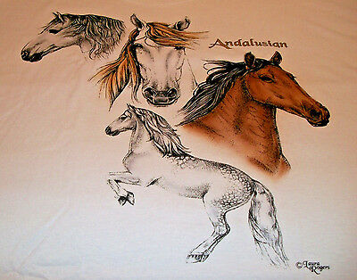 """Andalusian Horse T-shirt  """" White """" 3x ( 54 - 56 )"""