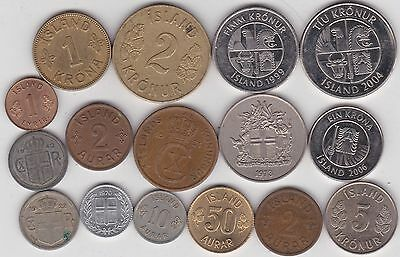 16 Coins From Iceland Dated 1922 To 2006 In Very Fine To Near Mint Condition