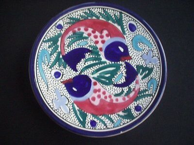 Pottery Wall Plaque -Raised Fish Pattern -Striking Colours