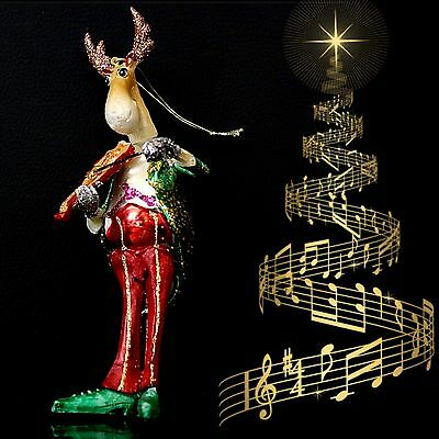 Long Christmas Ornament Reindeer Violin Awesome & Super Beautiful 18Cm !