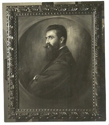Judaica Old Photo Theodor Herzl Oil Painting