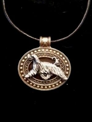 Afghan Hound Dog Brass Medallion on leather cord~necklace~