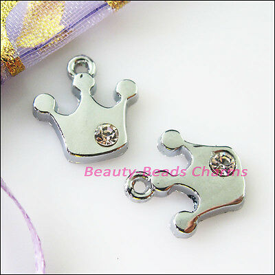 10Pcs Dull Silver Lovely Crown Crystal Charms Pendants 14x15mm
