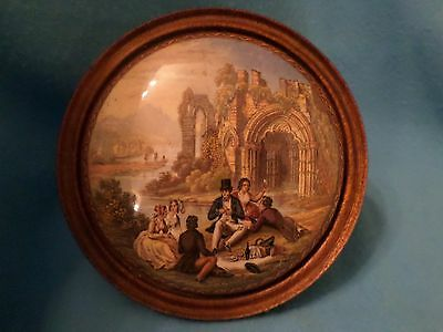 """Victorian Prattware Lid """"the Picnic At The Abbey"""" C1860"""