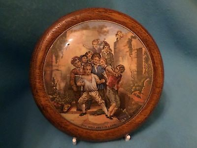 """Victorian Prattware Pot Lid """"the Wolf And The Lamb"""" C1860"""
