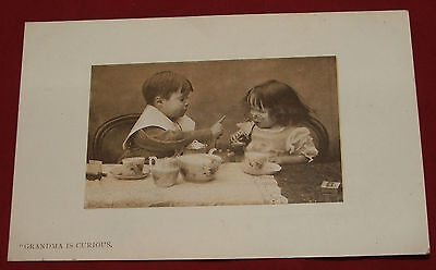 Bijou Series Real Photo Postcard, Grandma is Curious Children with Pipe and Tea