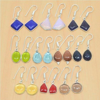 Wholesale 10Pair Lot 925 Sterling Silver Plated Smokey & Mix Stone Hook Earring