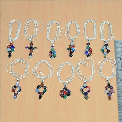 Wholesale 11Pc 925 Silver Plated Amethyst,garnet & Mix Stone Pendant & Chain Lot