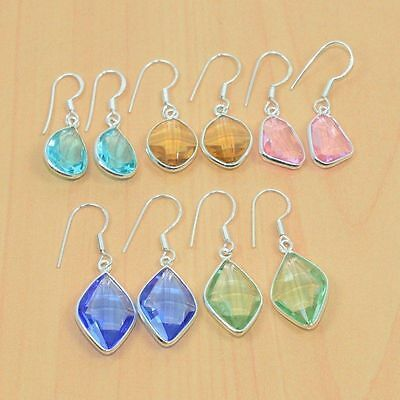 925 Solid Sterling Silver Wholesale 5Pair Faceted Iolite &mix Stone Earring Lot.