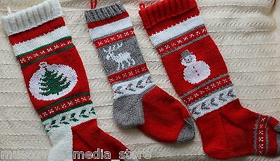 Personalized Christmas Hand Knit Stocking Jacquard with Embroidery