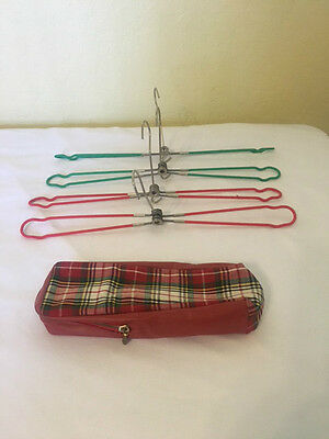 Vintage Metal Folding Travel Clothes Hangers with Tartan Carry Case