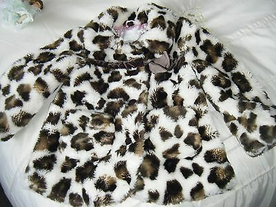 A Lovely Warm Coat 3-4 Years Dark Brown And Cream Faux Fur.