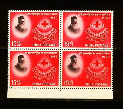 India Mint Nh Block On Red Cross 1957 #04