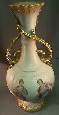 """Antique Dresden hand painted porcelain vase lovely gilding 16"""" tall x 8"""" wide"""
