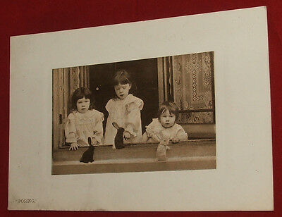 Vintage Bijou Series Real Photo Postcard, Posing,3 Children with 3 Bunny Rabbits