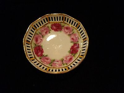 """Schumann Arzberg Germany Reticulated Dish / Bowl approx. 4"""" Roses Floral"""