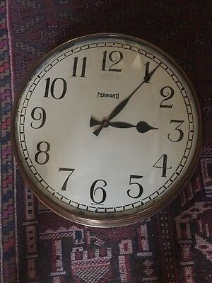 Rare, & Original Large Copper Vintage Industrial Ferranti Factory Station Clock