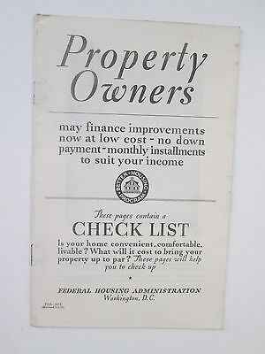 1935 Federal Housing Admin.-Property Owners Checklist for Improvement Loans