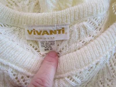 Vintage Vivanti Neiman Marcus Cream Sweater Suit Sz 12 Skirt and Top