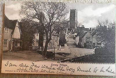 Kersey Showing Villager And Horse & Cart Postcard