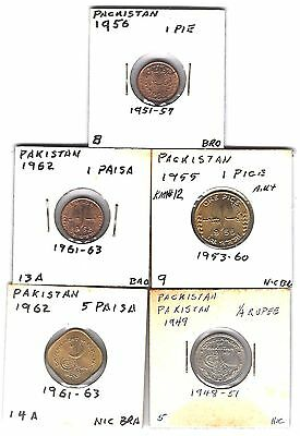 Pakistan vintage lot 5 carded coins w/ 1949 1/4 Rupee thru 1956 1 Pie coin