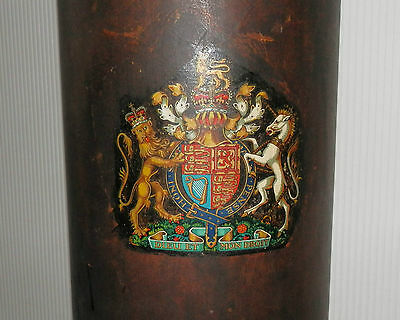 Antique English Military Leather Cordite Carrier / Cane Stand Royal Coat Of Arms