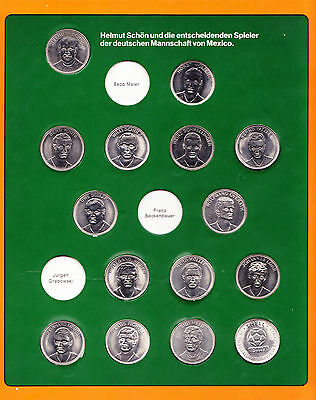 1970 FIFA WORLD CUP MEXICO GERMANY FOOTBALL COINS TOKENS 15 pieces