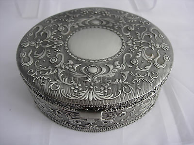 large hinged silver plate white metal oval  jewellery trinket box lined vgc