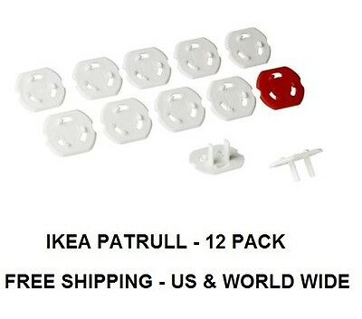 IKEA PATRULL Safety plug, white,12 pack, CHILD SAFETY OUTLET PLUGS