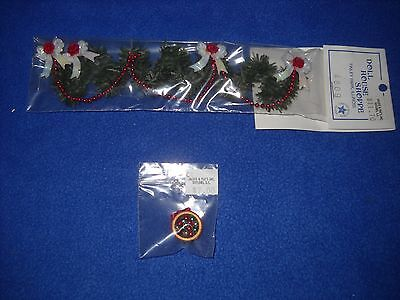 Christmas miniatures: staircase garland, ornament bowl - 1:12 scale, NIB