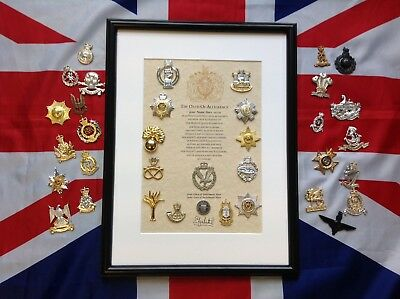 Oath Of Allegiance With British Army Cap Badge And Shilling Coin