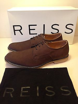 Mens Turin Casual Derby Brown Leather Lace up REISS Shoes Size UK 8/Eu 42 New