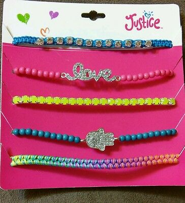NWT,girls,Justice jewelry, 5 pack fashion bracelets,beaded.
