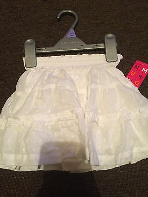 Beautiful Girls White Skirt Age 2-3 New With Tags Christmas
