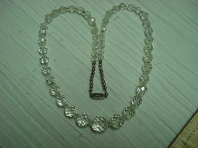 VINTAGE faceted CRYSTAL GRADUATED BEAD NECKLACE & EARRINGS 14k white GOLD FILLED