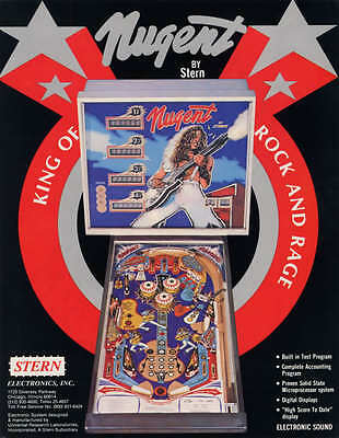 Nugent Stern Pinball Flyer Ted Nugent