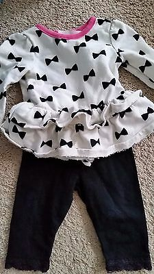 Baby girls 0-3 month top with leggings outfit Cherokee and Baby Gap