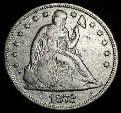 1872 $1 Seated Liberty Dollar Coin Key Date Better Grade