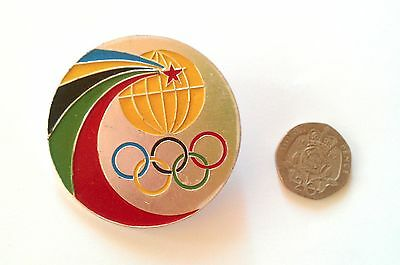 RARE MOSCOW OLYMPICS 1980 BADGE ROUND LARGE Collectible Sports Russia Soviets UK