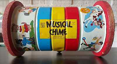Fisher Price Musical Chime #772 Push Pull Roller toy 1950's Nursery Rhymes VTG