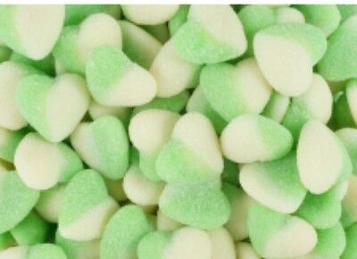 Green & White Sour Hearts 1Kg Wedding Candy Bar Buffet Lollies Party