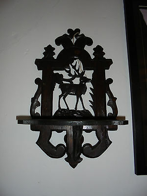 VINTAGE Wood Wall Unit, Stag/ Deer, with shelf, ready to hang,