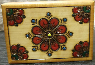 Oberammergau Wood Card Box Pyrographics Tole Painted Flowers & Deck of Cards