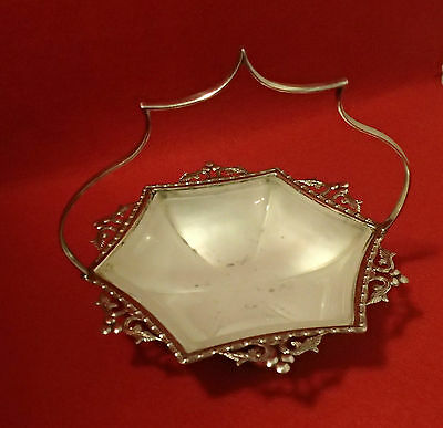 Silver plate and glass dish