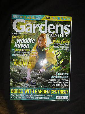 Gardens Monthly, Jan 2007, Charlie Dimmock on how to build a pond for wildlife.