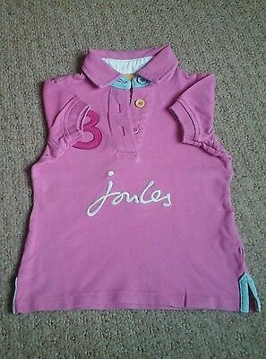Joules girls used pink short sleeved teeshirt size 3yrs