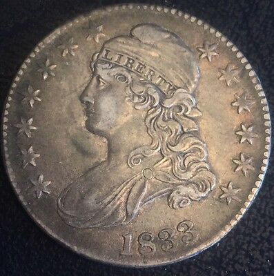 1833 50c Capped Bust Silver Half Dollar Almost Uncirculated Condition #503